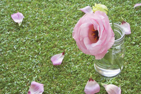 A pink rose in vintage jar at a garden party photo