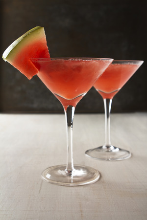 Watermelon cocktail drinks in a martini glass with text space Stock Photo