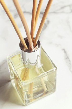 air diffuser: Aromatherapy reed diffuser air freshener bottle close up