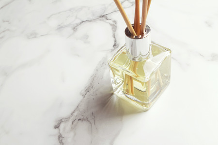 bamboo stick: Horizontal aromatherapy reed diffuser air freshener with copy space