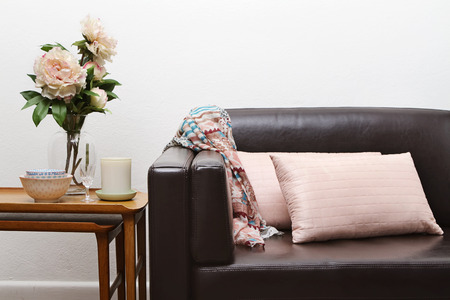 Contemporary interior sofa and side table horizontal Stock Photo