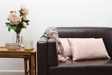 styled interior: Contemporary interior sofa and side table horizontal Stock Photo