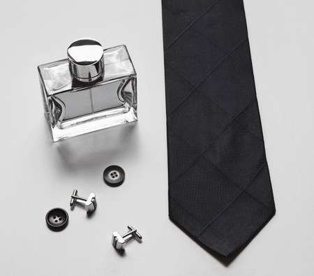 Stylish mens business accessories tie cologne cufflinks Imagens - 32275483