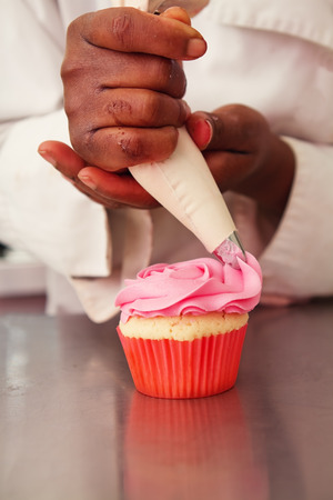 piped: Pink rose icing being piped onto a cupcake