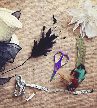 Deconstructed millinery materials and tools for hat making