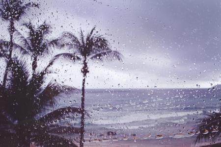 ウィンドウの背景の熱帯の島嵐雨をぼかし