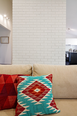 feature: Interior architectural painted brick feature wall with space for text