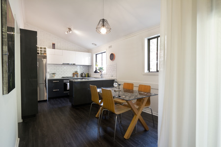 Open plan contemporary renovated kitchen and dining area