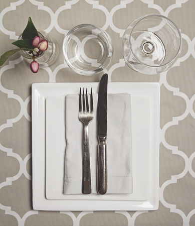 dine: Overhead view of a simple moroccan fine dining table setting