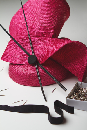 hand crafted: Close up of a ladies fashion hat accessory for the races Stock Photo