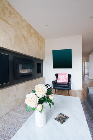 gas fireplace: Comfy leather armchair in with pink cushion in living room  with flowers on coffee table