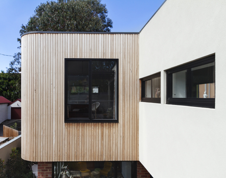 exterior wall: Close up of timber cladding slats on exterior renovation in Australia