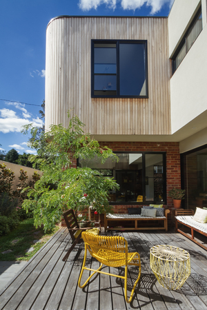 Deck patio courtyard in modern home extension renovation in Melbourne
