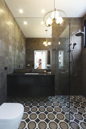 Luxury designer bathroom in contemporary new home extension in dark masculine tones