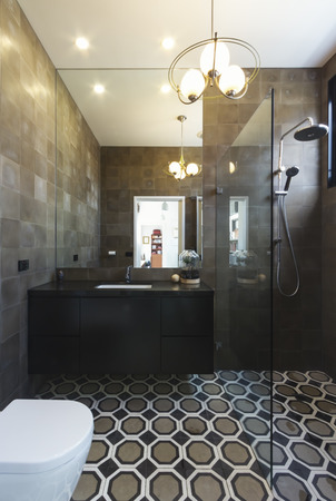 Luxury designer bathroom in contemporary new home extension in dark masculine tones