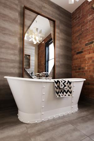 ensuite: Classic white freestanding iron look bathtub in vintage style renovated bathroom Stock Photo