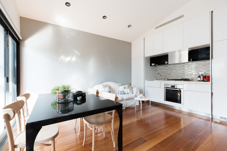 Open plan small apartment with kitchenette, dining table and sofa