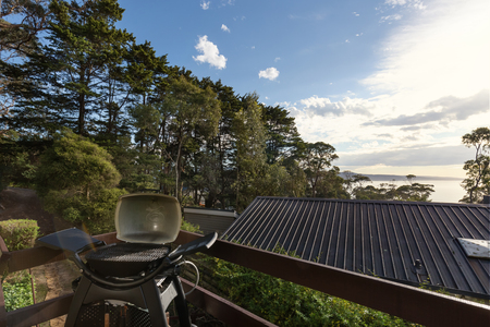 home accents: View of Lorne beach from a holiday home bbq deck