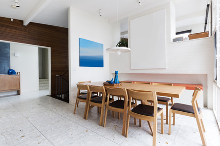 Beautiful scandinavian style interior dining room in mid century modern Australian home