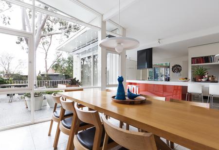 Escandinavo sala de línea y cocina abierta con perspectiva de patio