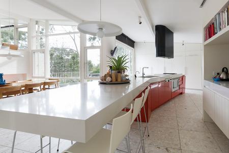 mid century: Large designer kitchen in modern Australian home with patio garden outlook