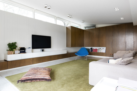 modern design: Scandinavian styled contemporary living room with walnut built in cabinets