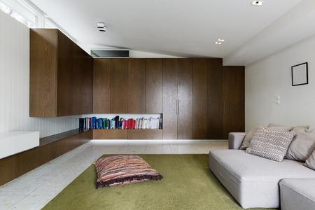 mid century: Built in walnut veneer cabinetry in modern living room interior