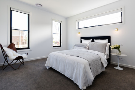styled interior: Contemporary master bedroom suite in a luxury new Australian home