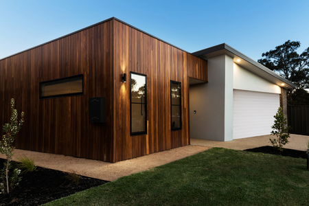 Contemporary Australian home facade at night dusk