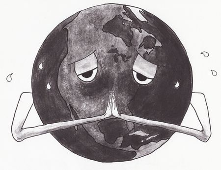 A cartoon of a sick & sweating Earth with hands folded in prayer