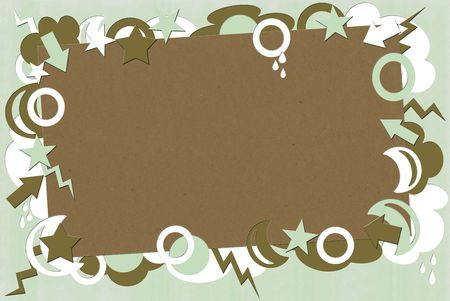 A photo of kraft paper surrounded by green, brown & white shapes
