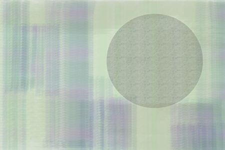 A purple and green painted watercolor background with a circle of sand Stok Fotoğraf