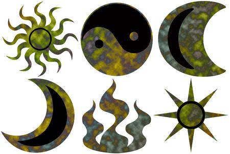 6 different tie dyed karma symbols