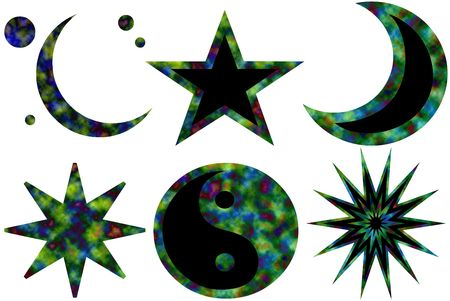 Six isolated tie-dyed symbols: moons, stars, yin yang Stock Photo