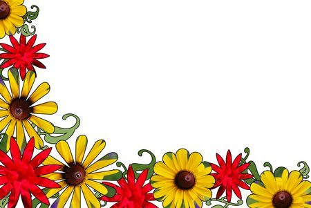 A border of red rose and black eyed susan pictures cut into shapes