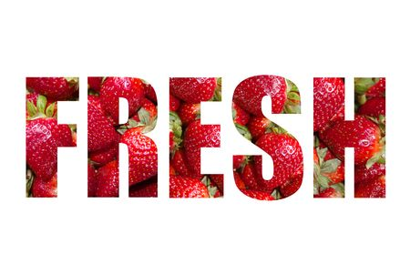 The word FRESH written with strawberries on a white background