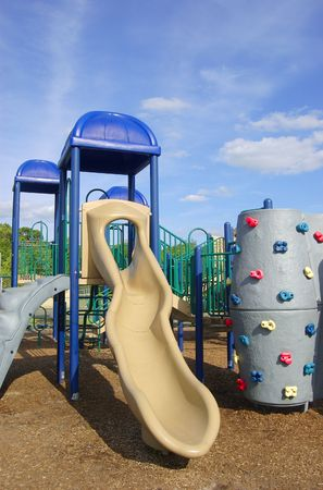 Colorful playground equipment on a sunny day