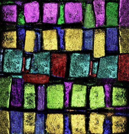 fused: I Hand Fused this Dichroic Glass 4x4 piece of art. the colors are the way I want to represent them Makes a wonderful print for your wall. Artist Jodi Jacobson Stock Photo