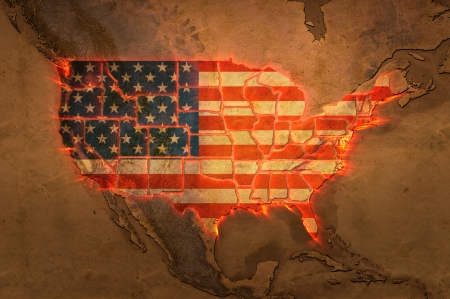 Highly detailed USA map with the US flag, glowing state borders and a grunge texture
