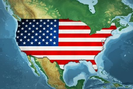 Highly detailed USA map with the US flag, natural colors and terrain elevation