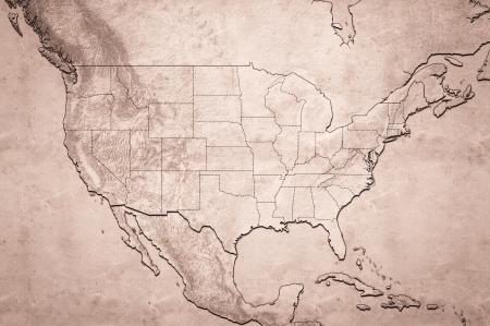 state of wisconsin: Highly detailed USA map with displayed states borders and grunge texture Stock Photo