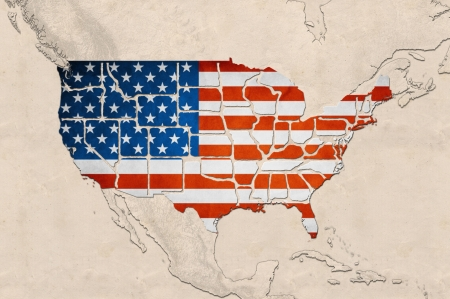 Highly detailed USA map with the US flag, grunge texture and displayed states borders Banque d'images