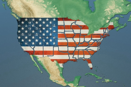 Highly detailed USA map with the US flag, natural colors, terrain elevation and displayed states borders Banque d'images