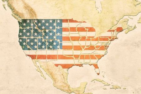 Highly detailed USA map with the US flag, vintage texture and displayed states borders photo