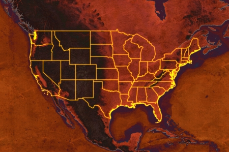 Highly detailed USA map with displayed US states, glowing states borders, vintage texture and terrain elevation