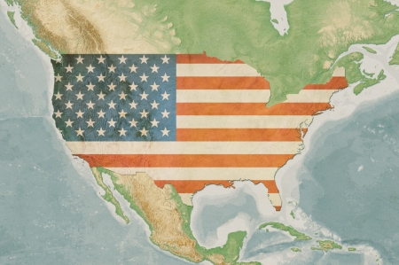 Highly detailed USA map with the US flag, vintage texture, terrain elevation and natural colors