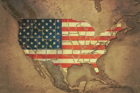 Highly detailed USA map with the USA flag, grunge texture, terrain elevation and displayed states borders