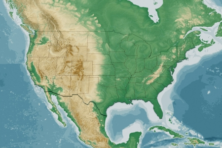 Highly detailed USA map with natural colors, terrain elevation and displayed states borders
