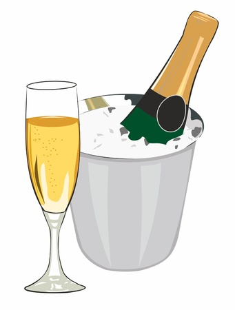 glass and champagne on ice Stock Vector - 18876644