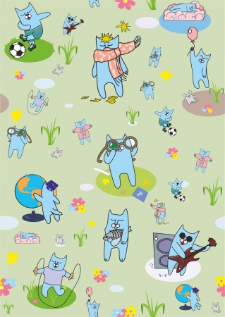 Funny cats are active in different situations Vector